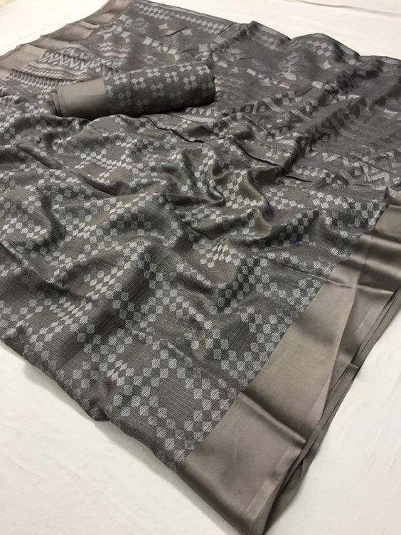 Flaunt  Grey Colored  Festive Wear Printed  Pure Linen Saree