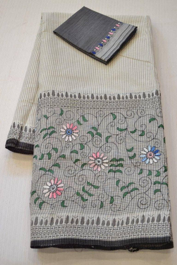 Magnetic Grey Colored  Festive Printed  Pure Linen Saree
