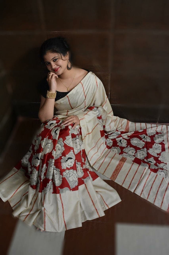 Beautiful Cream And Red Colored  Festive Printed  Pure Linen Saree