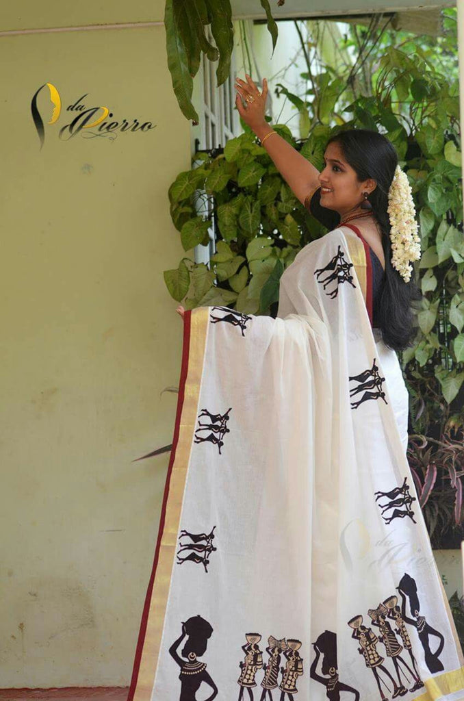 Graceful White Colored  Festive Wear Printed  Pure Linen Saree