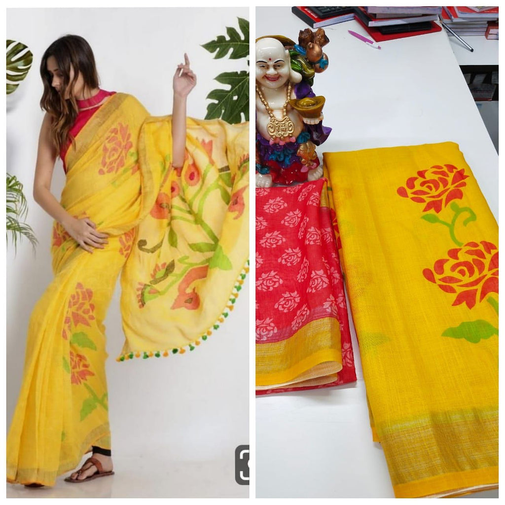 Hypnotic Yellow And Red Colored  Festive Wear Printed  Pure Linen Saree
