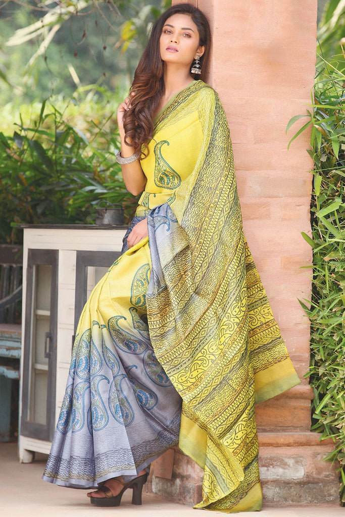 Magnetic Yellow And Grey Colored  Festive Wear Printed  Pure Linen Saree