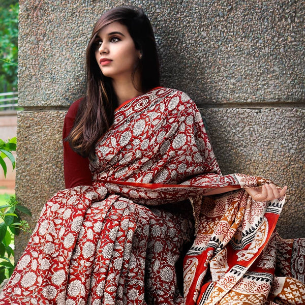 Lovely Maroon Colour Printed Pure Linen Saree For Women