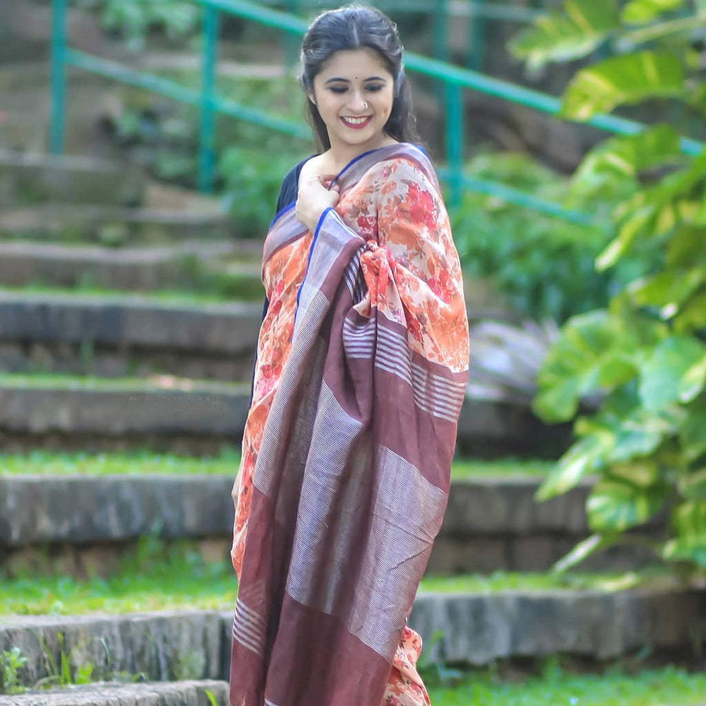Pleasant Orange And Brown Colour Printed Pure Linen Saree For Women