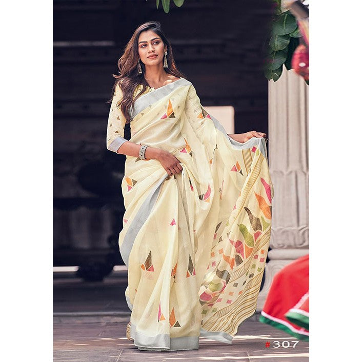 Magnetic Light Yellow Colored Festive Wear Pure Linen Designer Saree