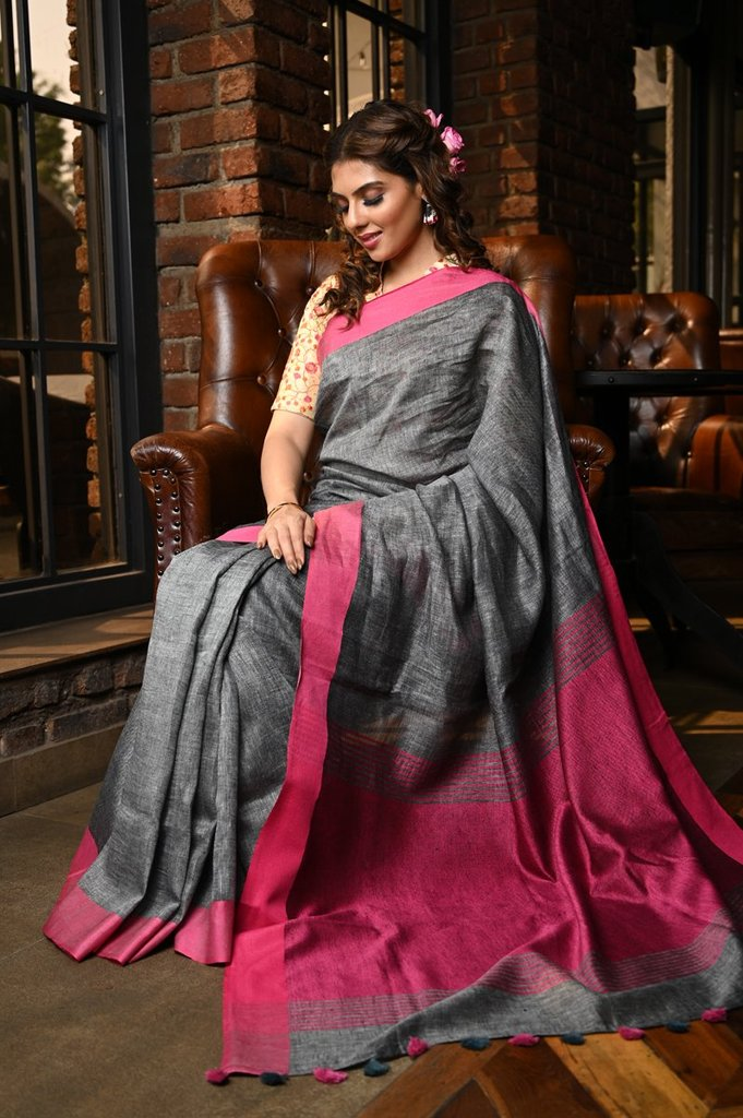 Magnetic Women's Grey And Pink Colour Pure Linen Saree With Blouse Piece