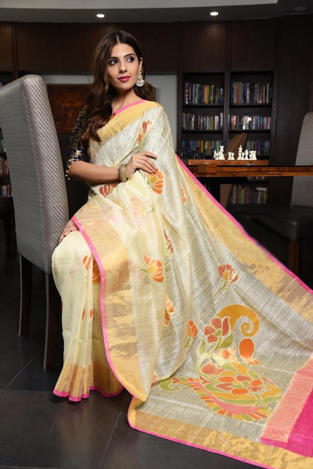 Engrossing Women's Light Yellow And Pink Colour Pure Linen Saree With Blouse Piece
