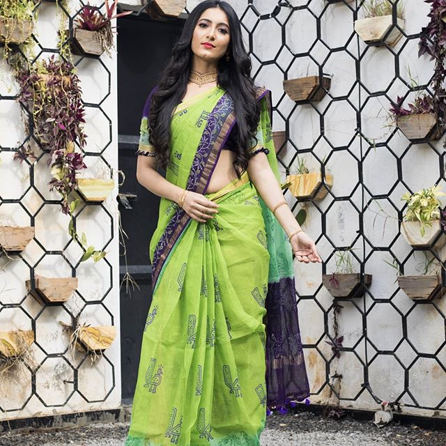 Breathtaking  Parrot Green And Navy Blue Border Pure Linen Printed  Saree