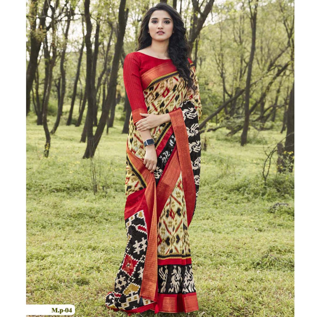 Staggering Red And Cream  Party Wear Pure linen Printed Saree