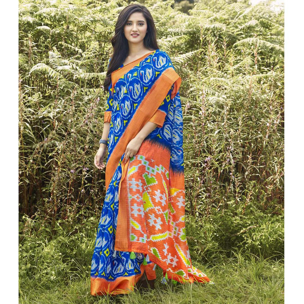 Fantastic Blue And Orange Party Wear Pure linen Printed Saree