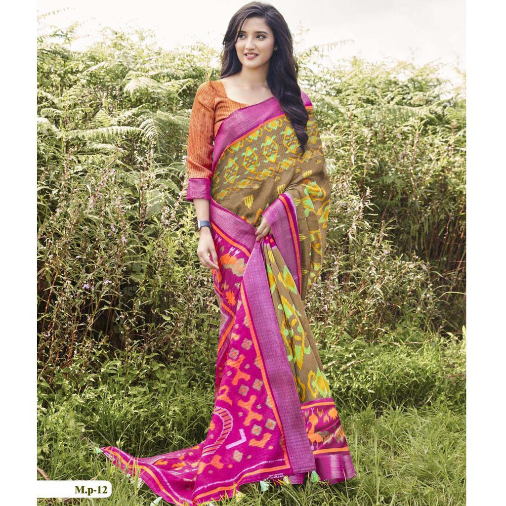 Pleasant  Pink And Yellow Colored  Party Wear Pure linen Printed Saree
