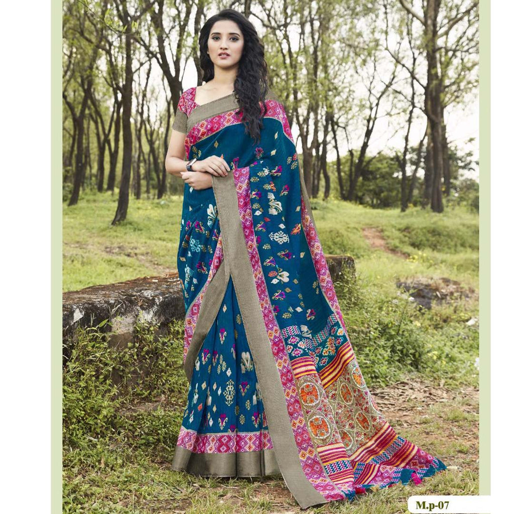 Exceptional Dark Rama Colored  Party Wear Pure linen Printed Saree