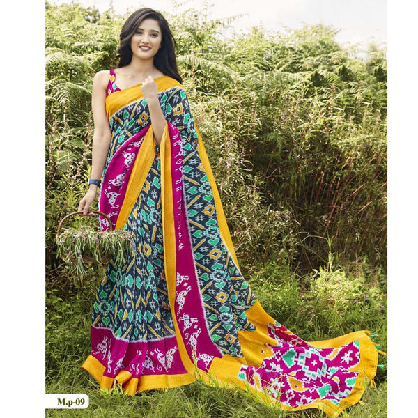 Glowing Rani Pink And Green  Colored  Party Wear Pure linen Printed Saree