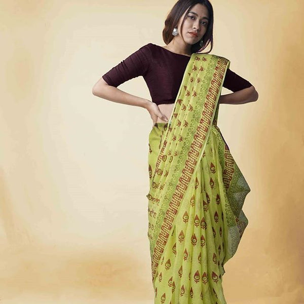 Different Parrot Green And Brown  Colored Party Wear Pure Linen Printed Saree