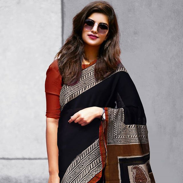 Fairy-tale Black And Red Colored Party Wear Pure Linen Printed Saree