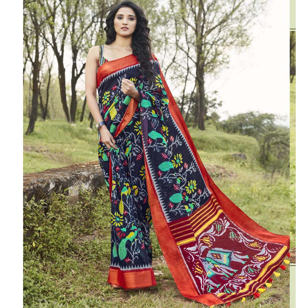 Unique  Black And Red Colored  Party Wear Pure linen Printed Saree