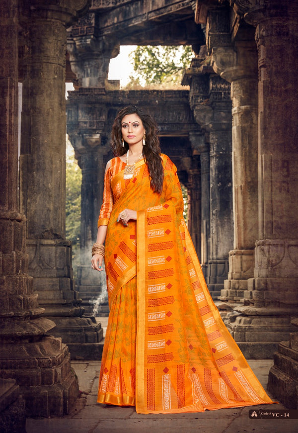 Hypnotic  Orange  Colored Partywear Pure linen Saree