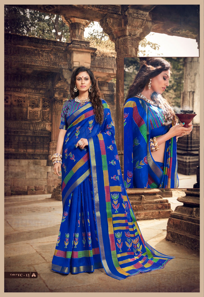 Magnetic Royal Blue  Colored Partywear Pure linen Saree