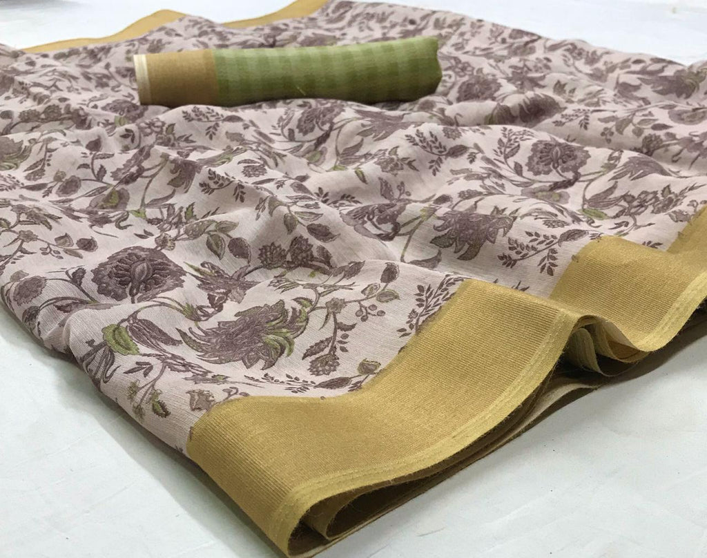 Desiring Beige Colored With Gold Border  Partywear  Printed Pure Linen saree