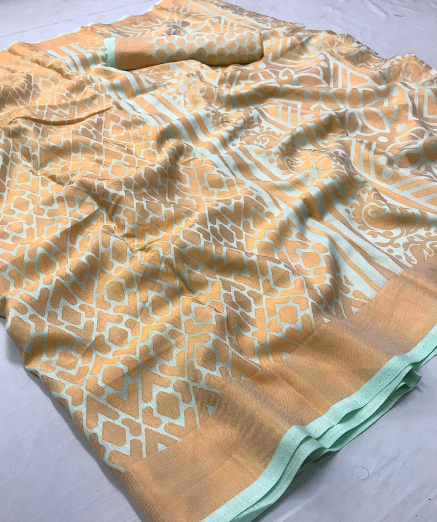 Different Cream Colored   Partywear  Printed Pure Linen saree