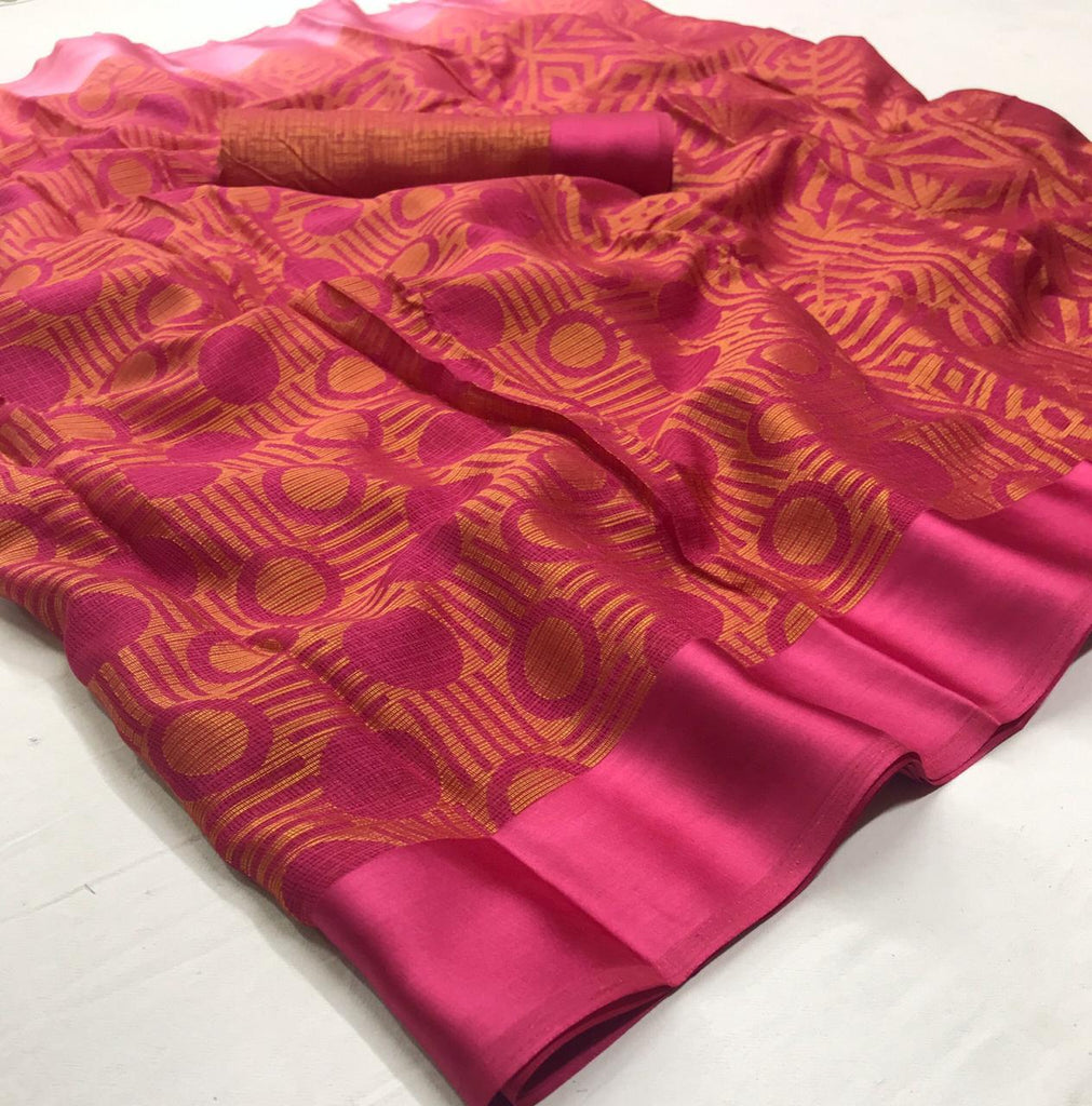 Fantastic Pink Colored  Partywear Printed Pure Linen saree