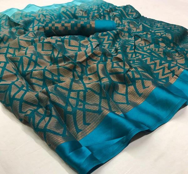 Refreshing  Dark Sky Blue  Colored With Gold Border  Partywear Printed Pure Linen saree