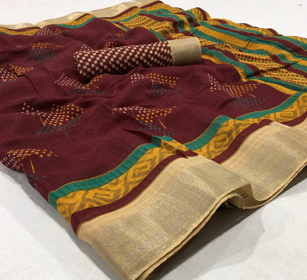 Staring Dark Brown  Colored Partywear Printed Pure Linen saree