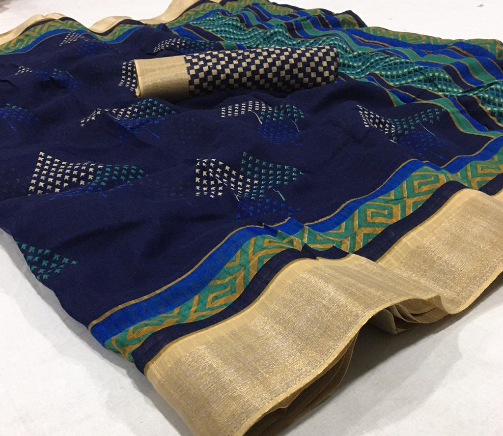 Surpassing  Blue  Colored Partywear Printed Pure Linen saree