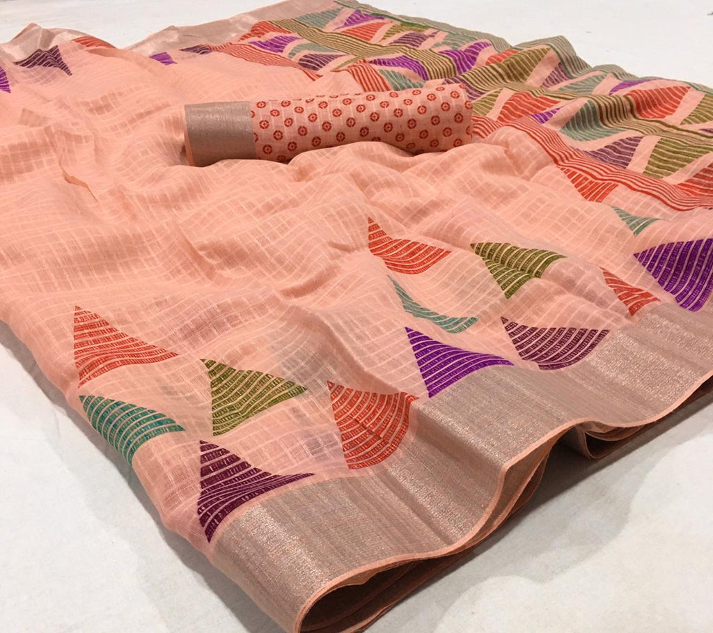 Ravishing Peach Colored Partywear Printed Pure Linen saree
