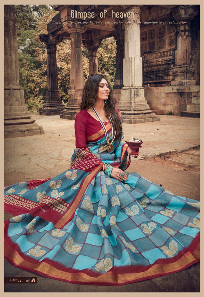 Impressive Sky Blue And Maroon Colored PartyWear Pure Linen Saree