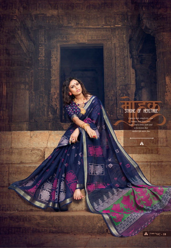 Breathtaking Navy Blue  Colored PartyWear Pure Linen Saree