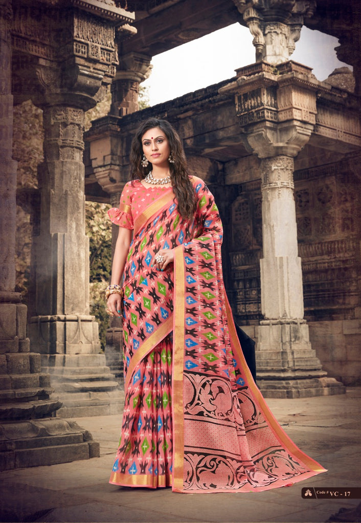 Fairy-tale Peach Colored PartyWear Pure Linen Saree