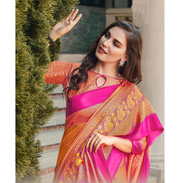 Hypnotic Pink And Orange  Colored PartyWear Pure Linen Saree