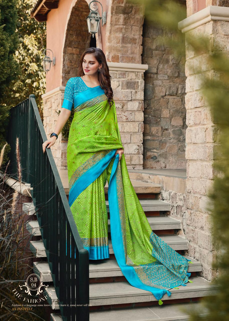 Radiant  Parrot Green And Sky Blue  Colored PartyWear Pure Linen Saree