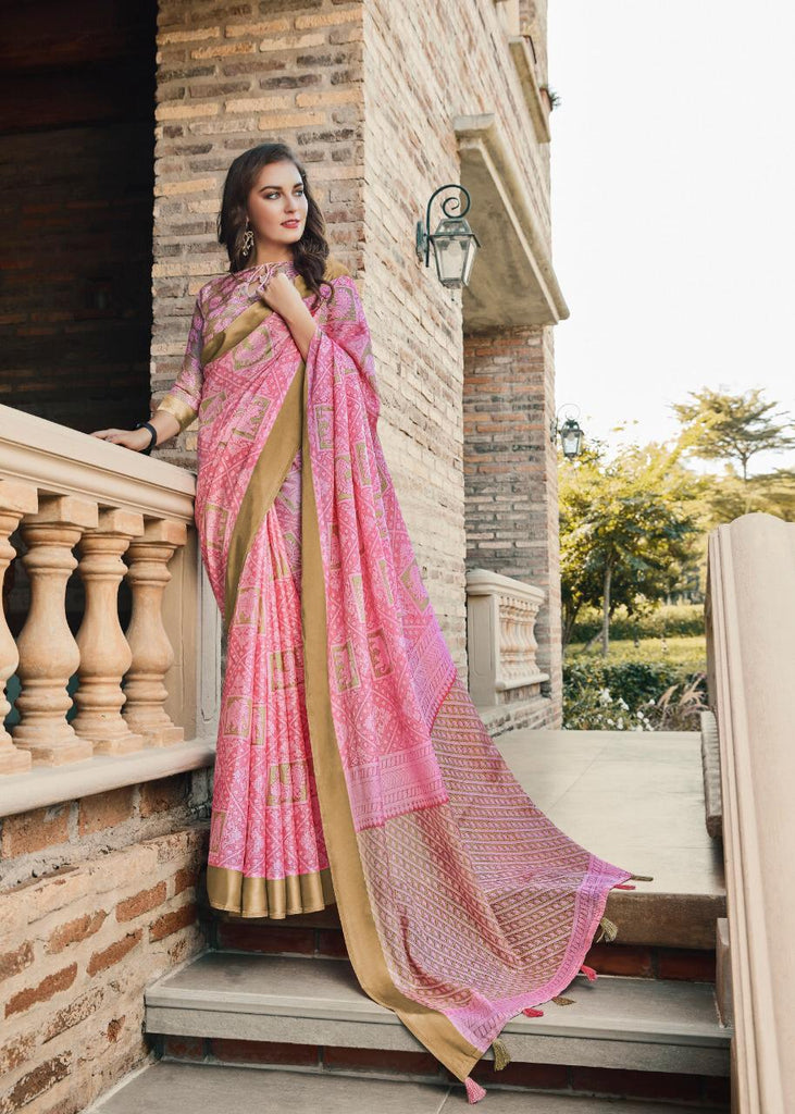 Staring Baby Pink Colored PartyWear Pure Linen Saree