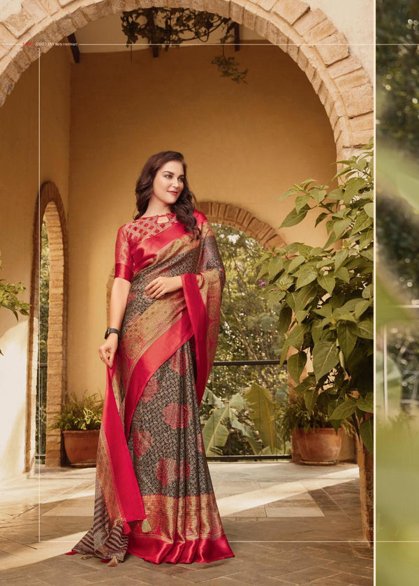 Fantastic Red Colored PartyWear Pure Linen Saree