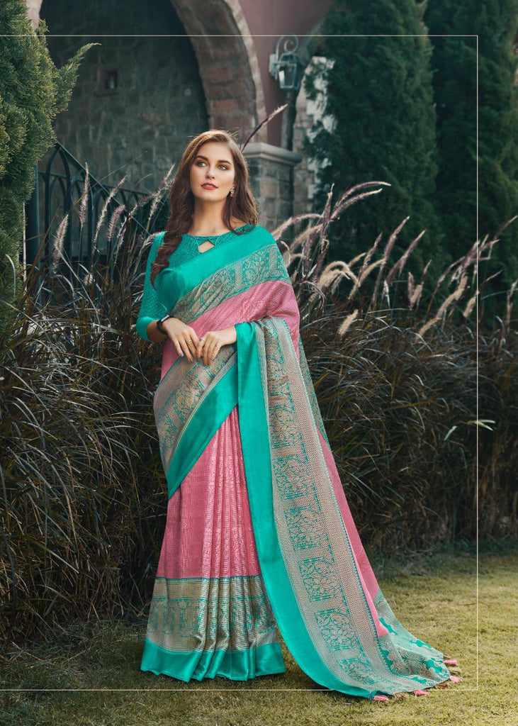 Refreshing Baby Pink And Rama  Colored PartyWear Pure Linen Saree