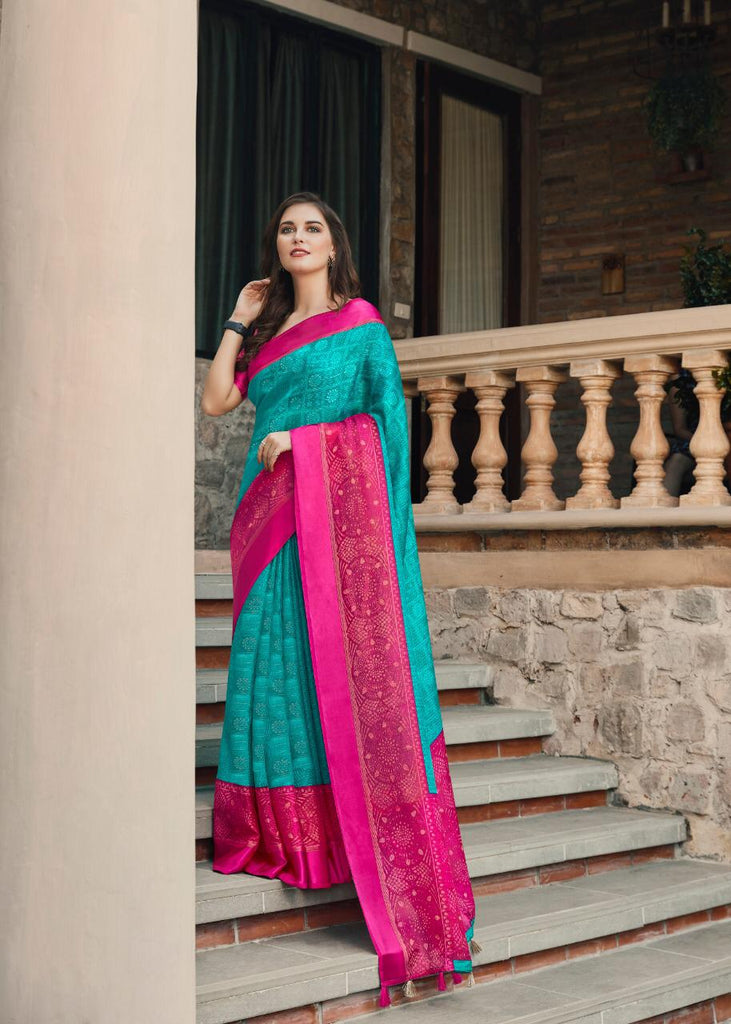 Surpassing  Sky Blue And Pink Colored PartyWear Pure Linen Saree