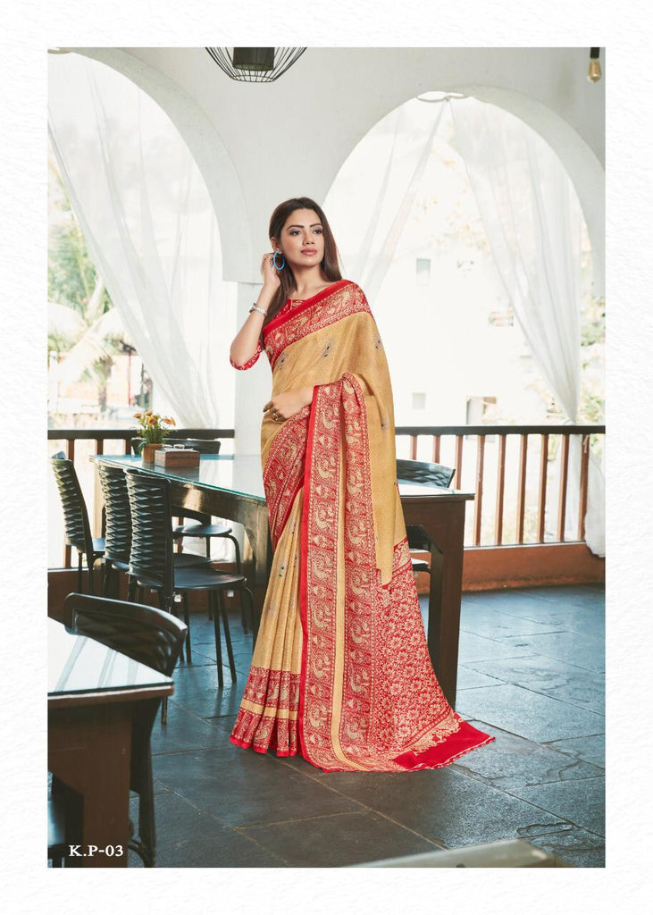 Stylish Cream And Red Colored PartyWear Pure Linen Saree