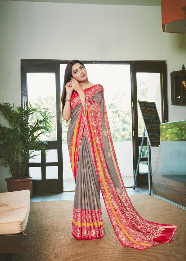 Gorgeous Grey And Red Colored PartyWear Pure Linen Saree