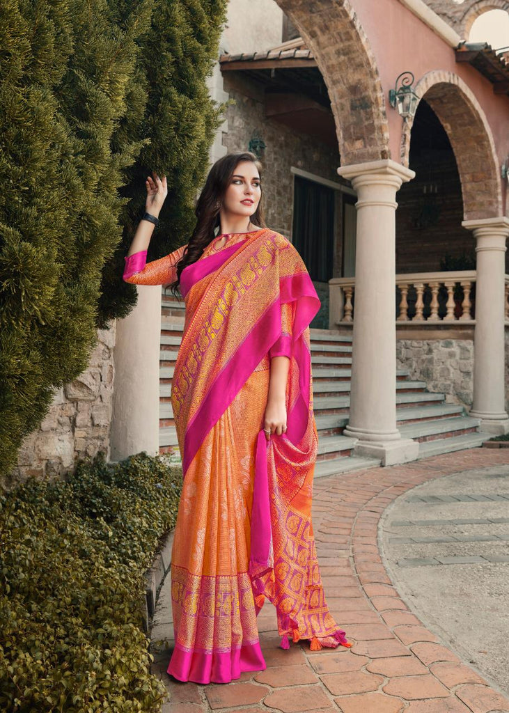 Ravishing Orange And Pink Colored PartyWear Pure Linen Saree