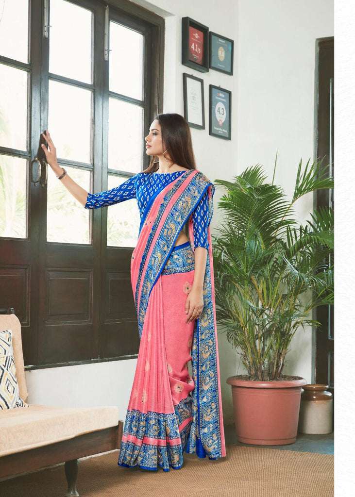 Eye-catchin Baby Pink And Royal Blue Colored PartyWear Pure Linen Saree