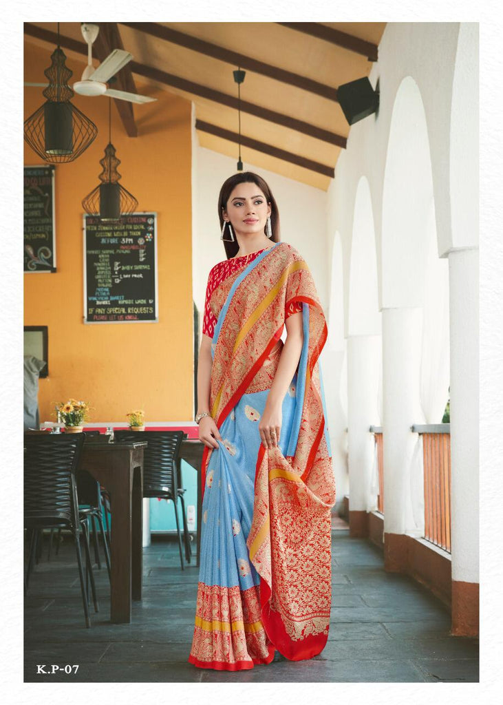 Hypnotic  Sky Blue And Red Colored PartyWear Pure Linen Saree