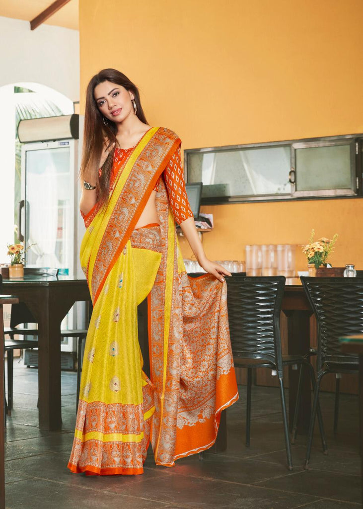 Radiant Yellow And Orange Colored PartyWear Pure Linen Saree