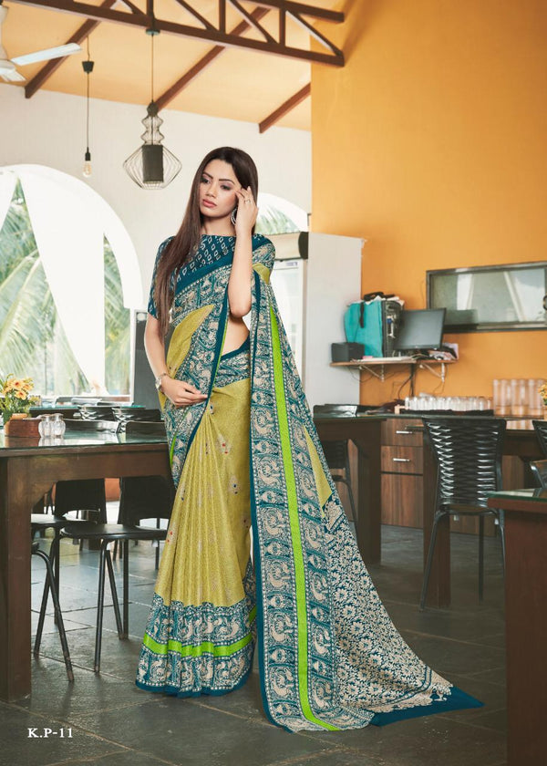 Flaunt  Cream Colored Dark Green Border PartyWear Pure Linen Saree