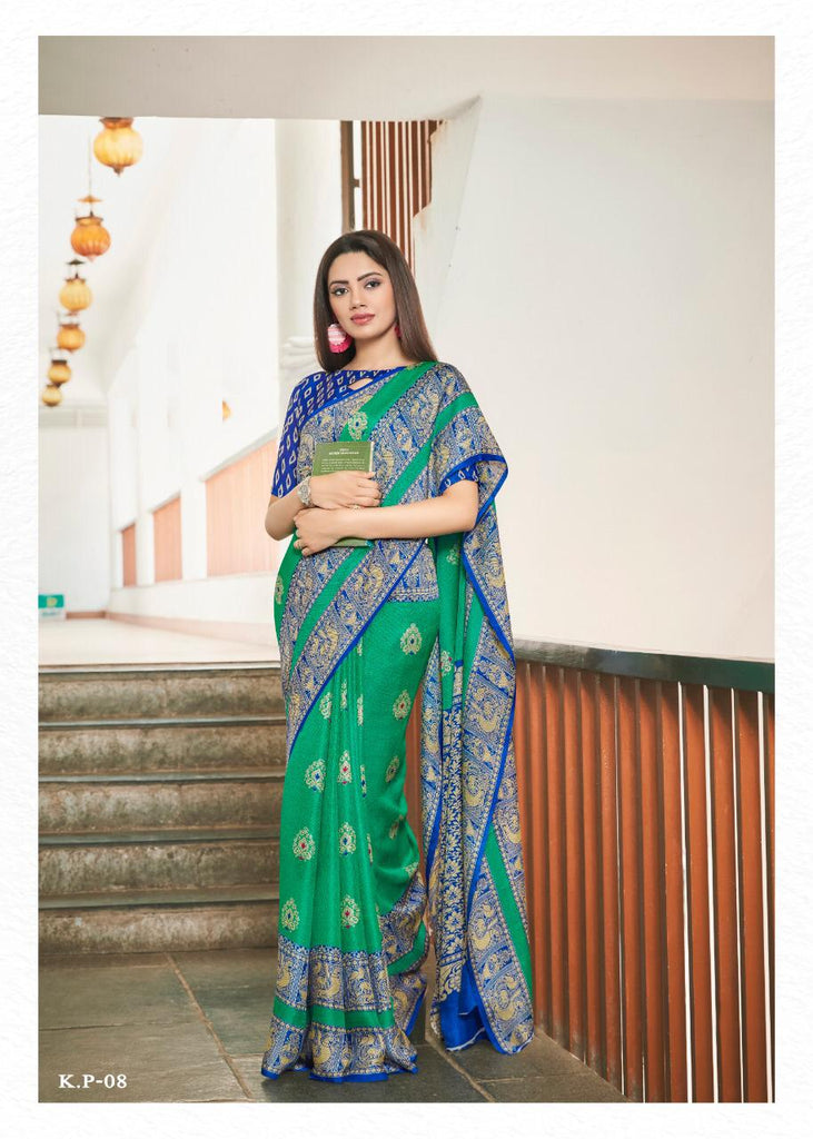 Trendy Green Colored Royal Blue Border PartyWear Pure Linen Saree