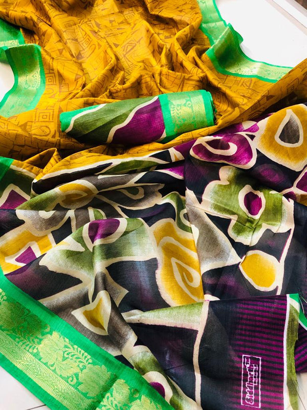 Fantastic Yellow Colored Green Border PartyWear Pure Linen Saree