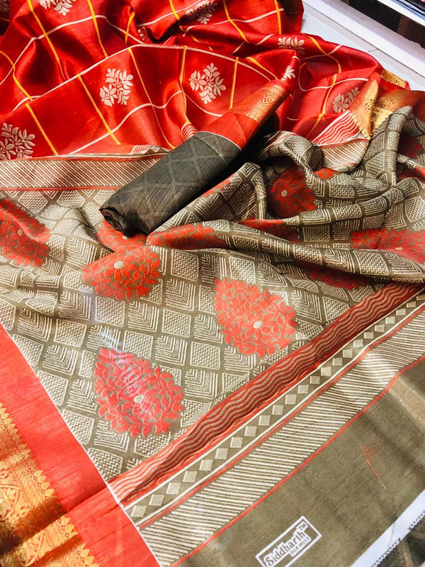 Sophisticated  Red Colored Beige Border PartyWear Pure Linen Saree