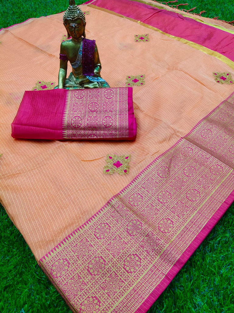 Appealing Peach Colored Festive  viving border saree With Chainstich Work