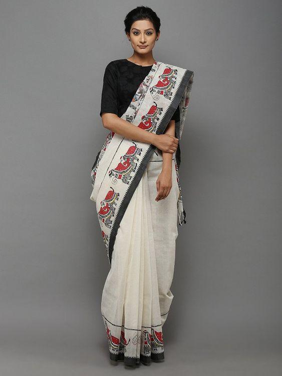 Gleaming White Colored Festive Wear Pure Linen Saree